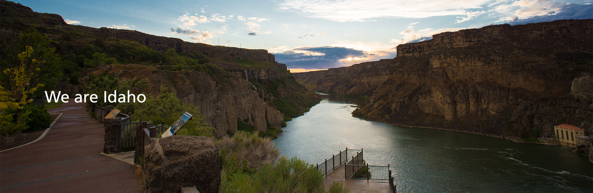 We are Idaho. View of the canyon beyond Shoshone Falls at sunset.